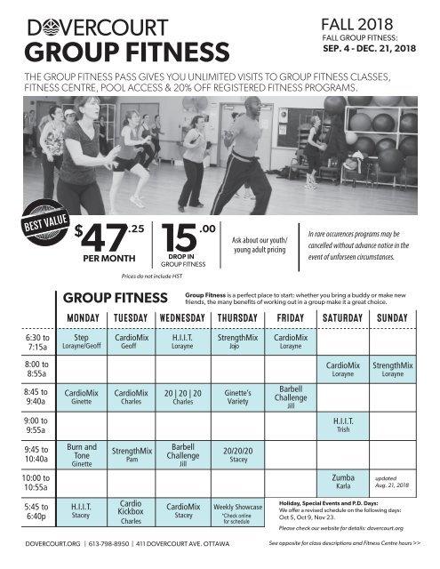 Dovercourt Fall 2018 Group Fitness