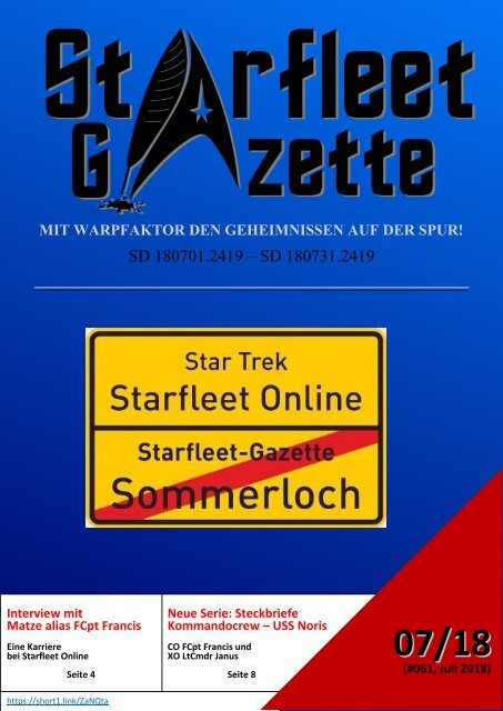 Starfleet-Gazette, Ausgabe 061 (Juli 2018)