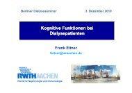 kognitive Funktion von Dialysepatienten - Berliner DialyseSeminar