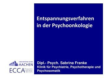 Dipl.- Psych. Sabrina Franke Klinik für Psychiatrie ... - Leben mit Krebs