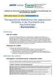 AWMF online - S2-Leitlinie Psychiatrie Kurzversion: Therapie bei ...