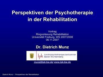 Perspektiven der Psychotherapie in der Rehabilitation - LPK Baden ...