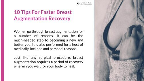 10 Tips For Faster Breast Augmentation Recovery