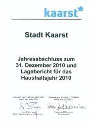 Jahresabschluss Haushaltsjahr 2010 - Stadt Kaarst