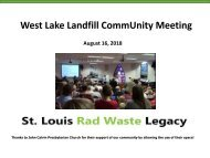 Community Meeting on West Lake Landfill - August 16, 2018