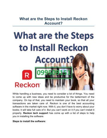 Steps to Install Reckon Account