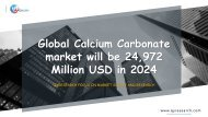 Global Calcium Carbonate market will be 24,972 Million USD in 2024
