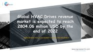 Global HVAC Drives revenue market is expected to reach 2804.06 million USD by the end of 2022