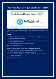 Dial 1800-796-0471 Know the Reasons of QuickBooks Error 12007