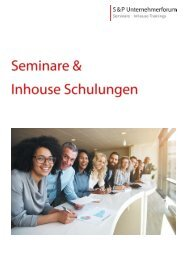 Seminar Broschüre - Seminarbroschüre 2018-2019 - S&P Seminare