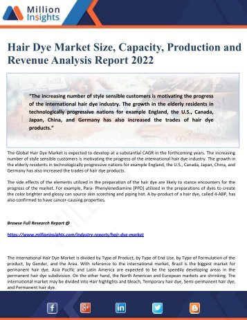 Hair Dye Market Size, Capacity, Production and Revenue Analysis Report 2022