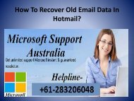 How To Recover Old Email Data In Hotmail