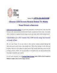 Choose LED Screen Rental Dubai To Make Your Event a Success
