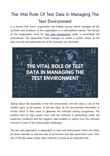 The Vital Role Of Test Data In Managing The Test Environment
