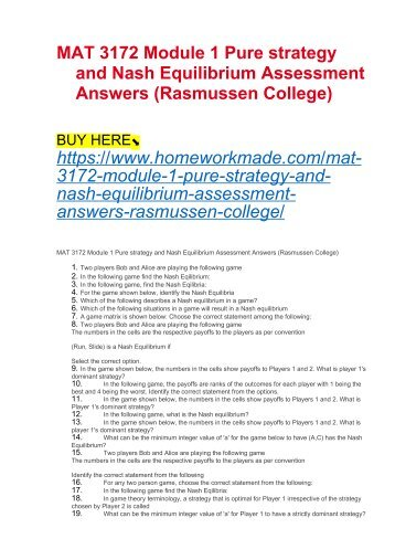MAT 3172 Module 1 Pure strategy and Nash Equilibrium Assessment Answers (Rasmussen College)