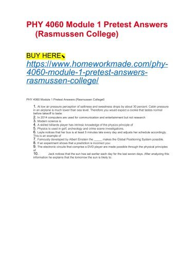 PHY 4060 Module 1 Pretest Answers (Rasmussen College)