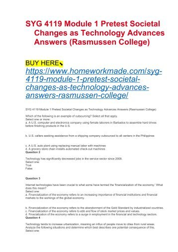 SYG 4119 Module 1 Pretest Societal Changes as Technology Advances Answers (Rasmussen College)