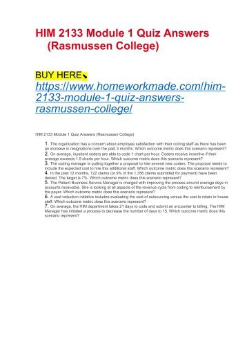 HIM 2133 Module 1 Quiz Answers (Rasmussen College)