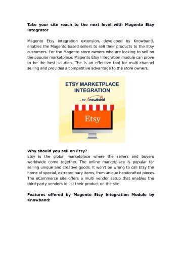 Take your site reach to the next level with Magento Etsy Integrator