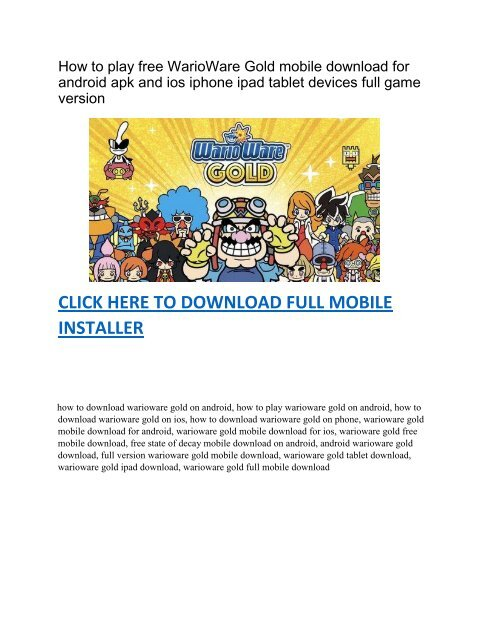 How to play free WarioWare Gold mobile download on android apk and