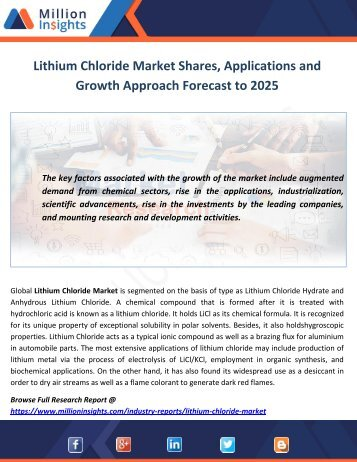 Lithium Chloride Market Shares, Applications and Growth Approach Forecast to 2025