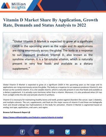 Vitamin D Market Share By Application, Growth Rate, Demands and Status Analysis to 2022