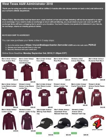 Cardinal Sport Web Store PDF