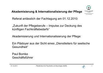 Akademisierung und Internationalisierung der Pflege
