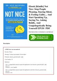 Ebook [Kindle] Not Nice Stop People Pleasing  Staying Silent  & Feeling Guilty... And Start Speaking Up  Saying No  Asking Boldly  And Unapologetically Being Yourself EPUB  PDF