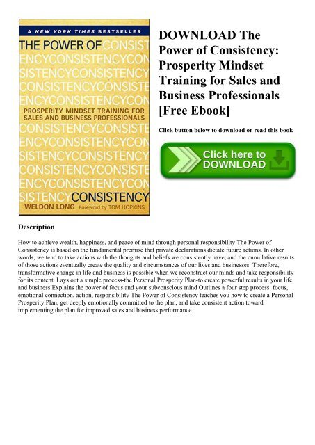 Prosperity Mindset Training for Sales and Business Professionals The Power of Consistency
