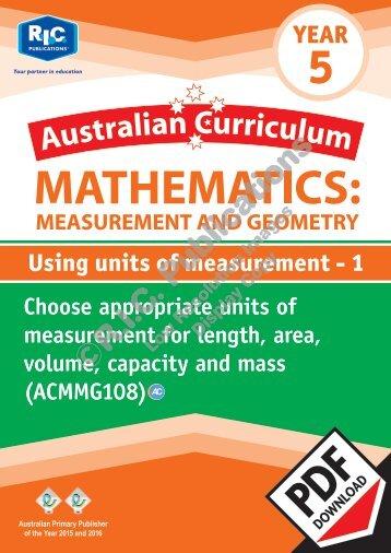 RIC-20163 ACM Measurement and Geometry (Yr 5) Using units of measurement 1