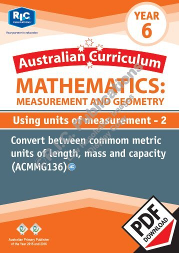 RIC-20172 ACM Measurement and Geometry (Yr 6) Using units of measurement 2