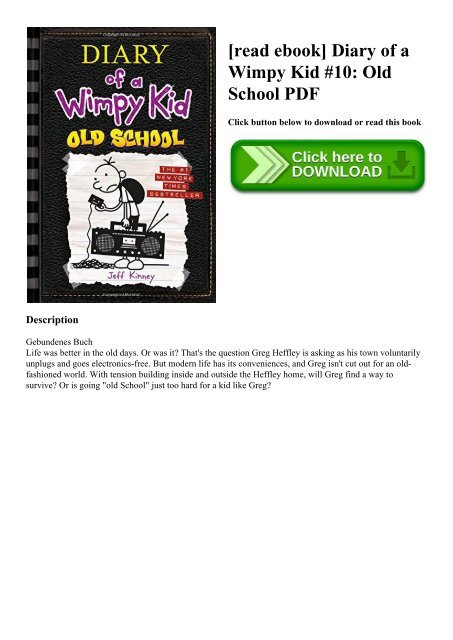Diary Of A Wimpy Kid Old School Epub
