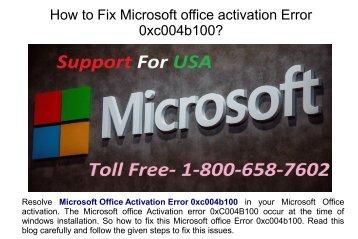 Fix microsoft office activation error 0xc004b100