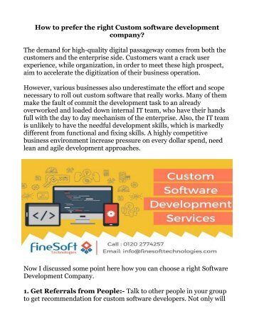 How to prefer the right Custom software development company