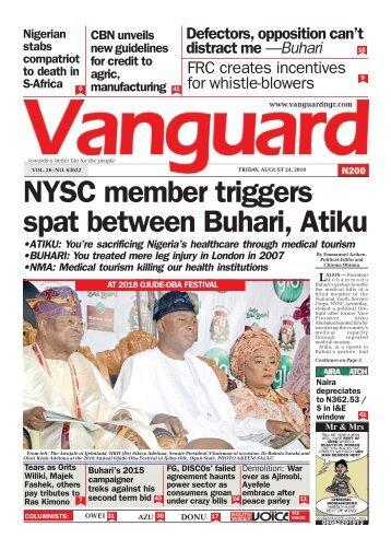 24082018 - NYSC member triggers spat between Buhari, Atiku