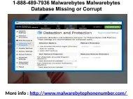 1-888-489-7936 Malwarebytes Malwarebytes Database Missing or Corrupt
