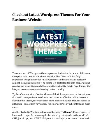 Checkout Latest Wordpress Themes For Your Business Website