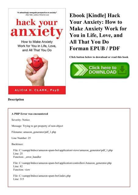 Ebook [Kindle] Hack Your Anxiety How to Make Anxiety Work