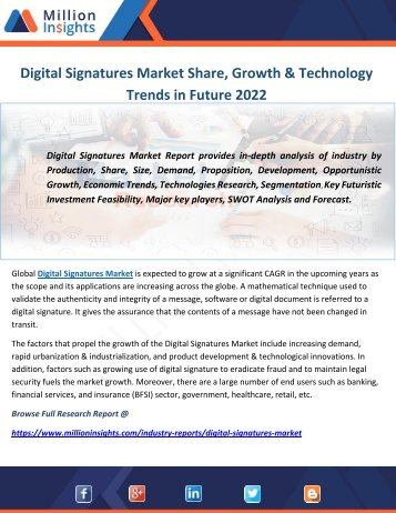Digital Signatures Market Share, Growth & Technology Trends in Future 2022