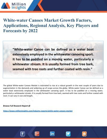 White-water Canoes Market Growth Factors, Applications, Regional Analysis