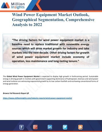 Wind Power Equipment Market Growth Factors, Applications, Regional Analysis