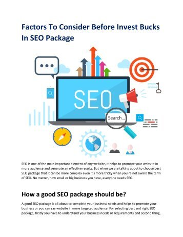 Factors to consider before invest bucks in SEO package