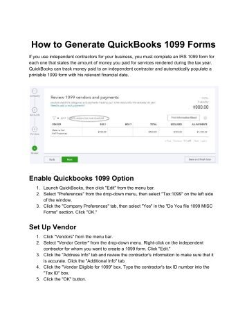How to Generate, Enable and Print QuickBooks 1099 Form - PosTechie 18009350532
