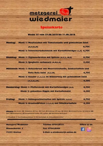 Speisekarte Glatten KW 35