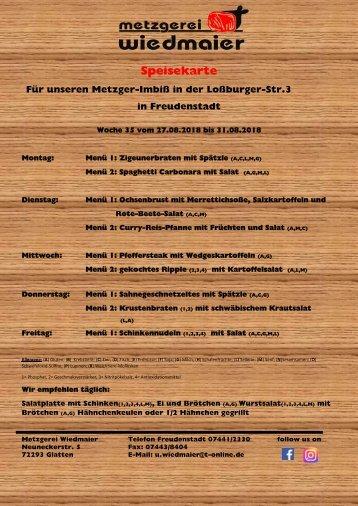 Speisekarte Loßburger Str.  Kw 35