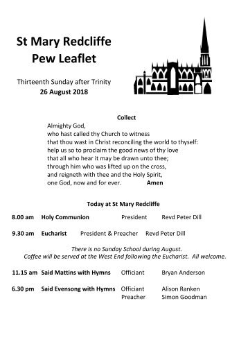 St Mary Redcliffe Church Pew Leaflet - August 26 2018