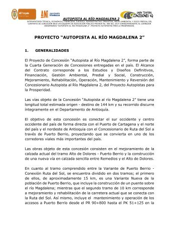 El proyecto ¨AUTOPISTA AL RÍO MAGDALENA 2¨