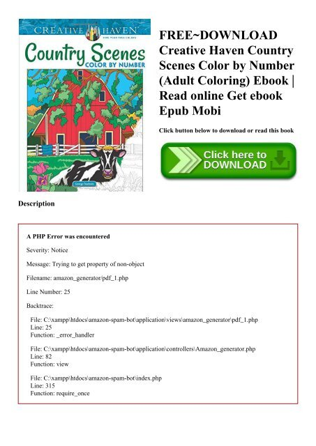 FREE~DOWNLOAD Creative Haven Country Scenes Color By Number (Adult Coloring)  Ebook Read Online Get