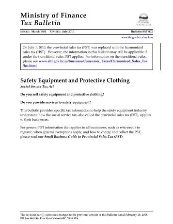 Bulletin SST 002 Safety Equipment and Protective Clothing